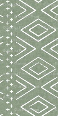 (small scale) Safari Wholecloth Diamonds on Sage  - farmhouse diamonds - mud cloth fabric C19BS