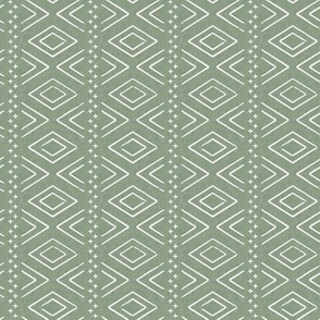(small scale) Safari Wholecloth Diamonds on Sage  - farmhouse diamonds - mud cloth fabric C19BS