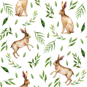 rabbits fabric - watercolor rabbit hare fabric, baby boy fabric nursery baby fabric - white