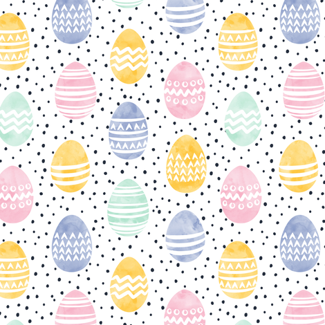 "(1"" wide) Easter eggs - watercolor multi eggs w/ black polka LAD19C fabric by littlearrowdesign on Spoonflower - custom fabric"