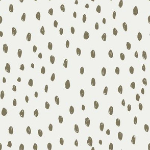 aloe dots on snow fabric - sfx0620 - dots, nursery, baby, muted, earthy, earth tones, simple, minimal, gender neutral fabric