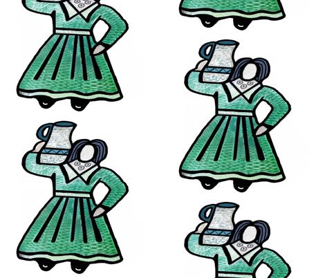 Seniorita Carrying Water on White fabric - fabric_is_my ...