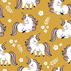 baby unicorns - mustard, large