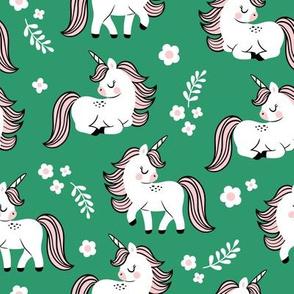baby unicorns - green, large