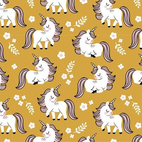 baby unicorns - mustard, small