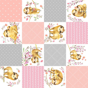 Sloth Cheater Quilt – Patchwork Blanket Baby Girl Bedding, Soft Gray Pink Peach ROTATED