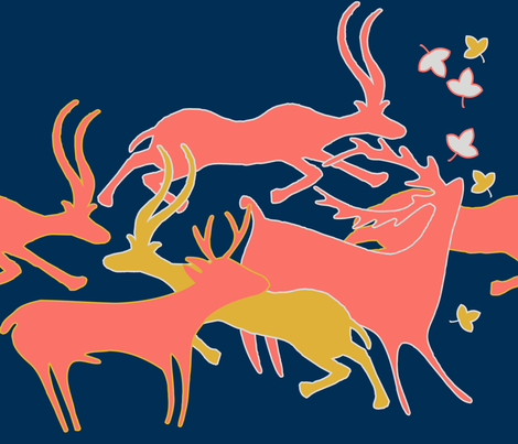 Limited Color Palette_running_animals fabric by isabella_asratyan on Spoonflower - custom fabric