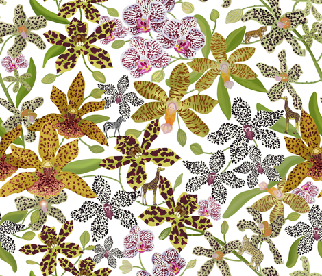 ANIMAL PRINT ORCHIDS white fabric by honoluludesign on Spoonflower - custom fabric