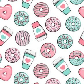 (small scale) donuts and coffee - valentines day - pink & teal C19BS