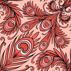 Retro coral peacock damask