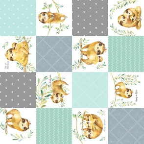 Sloth Cheater Quilt – Patchwork Blanket Baby Boy Bedding, Soft Gray Blue Green ROTATED