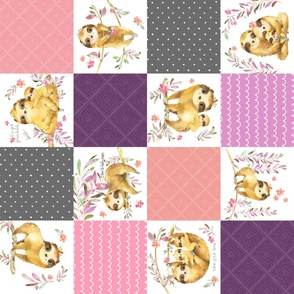 Sloth Cheater Quilt – Patchwork Blanket Baby Girl Bedding, Plum Peach Pink Grey, ROTATED Design EA