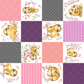 Sloth Cheater Quilt ROTATED – Patchwork Blanket Baby Girl Bedding, Plum Peach Pink Grey