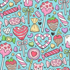 Valentine's Day Treats Candy & Hearts on Blue