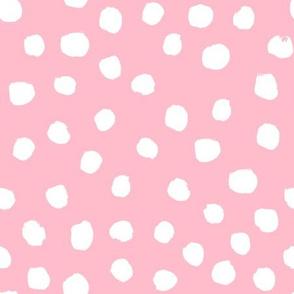 pink dots fabric - painted dots fabric, pink dots, nursery fabric, dots fabric, girls fabric