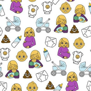 expecting baby fabric - pregnant fabric, breastfeeding fabric, emoji fabric, emojis fabric, baby girl, baby boy - classic - white