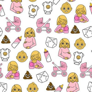 expecting baby fabric - pregnant fabric, breastfeeding fabric, emoji fabric, emojis fabric, baby girl, baby boy - classic yellow - g irl