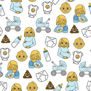 expecting baby fabric - pregnant fabric, breastfeeding fabric, emoji fabric, emojis fabric, baby girl, baby boy - classic yellow - boy