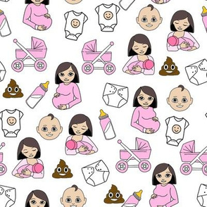 expecting baby fabric - pregnant fabric, breastfeeding fabric, emoji fabric, emojis fabric, baby girl, baby boy - pale skin tone - girl