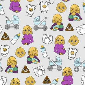expecting baby fabric - pregnant fabric, breastfeeding fabric, emoji fabric, emojis fabric, baby girl, baby boy - classic colors - grey