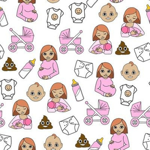 expecting baby fabric - pregnant fabric, breastfeeding fabric, emoji fabric, emojis fabric, baby girl, baby boy -  red hair - baby girl