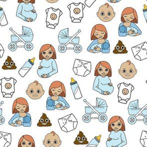 expecting baby fabric - pregnant fabric, breastfeeding fabric, emoji fabric, emojis fabric, baby girl, baby boy - red hair - baby boy