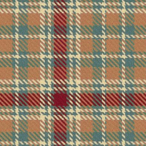Coral Burgundy Teal and Cream Plaid