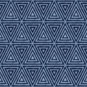 Indigo Distressed Triangles
