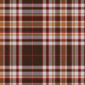 Rust Red Brown and White Plaid