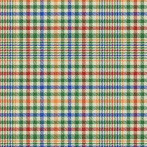 Red Blue and Orange on Green and Cream Plaid