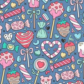 Valentine's Day Treats Candy & Hearts on Navy Blue