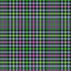 Lime Mint Lavender and Hot Pink on Black Plaid