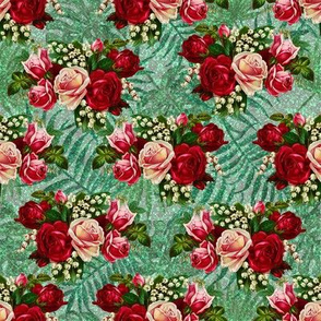 Red Roses on Glitter Green