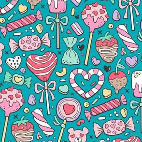 Valentine's Day Treats Candy & Hearts on Dark Blue