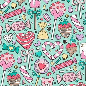 Valentine's Day Treats Candy & Hearts on Mint Green