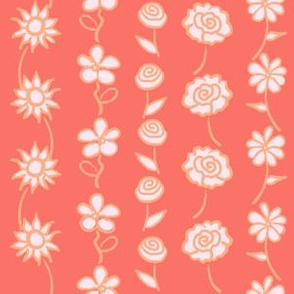 Floral Stripe - Coral