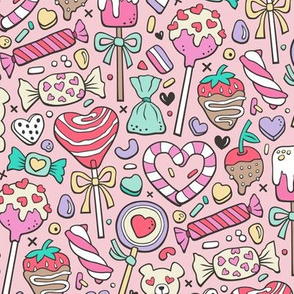 Valentine's Day Treats Candy & Hearts on Pink