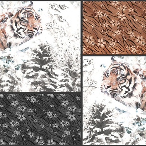 Seamless patchwork patches tiger skin leather winter landscape