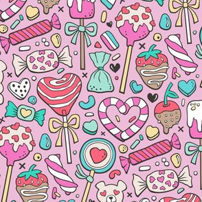 Valentine's Day Treats Candy & Hearts on Magenta Pink