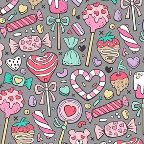 Valentine's Day Treats Candy & Hearts on Grey