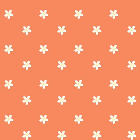 flowers on tangerine fabric by pamelachi on Spoonflower - custom fabric
