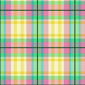Tartan #1 - green, pink, yellow