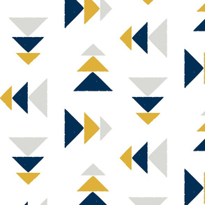 Every Which Way (larger scale) in Midnight Blue, Goldenrod and Grey