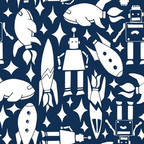retro space rockets and robots - midnight blue