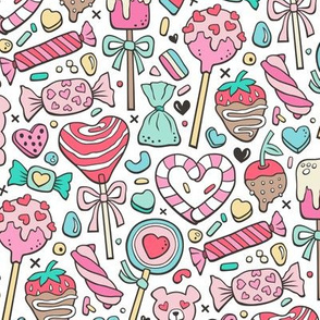 Valentine's Day Treats Candy & Hearts Blue Pink Red on White