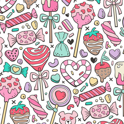 Valentine's Day Treats Candy & Hearts  fabric by caja_design on Spoonflower - custom fabric
