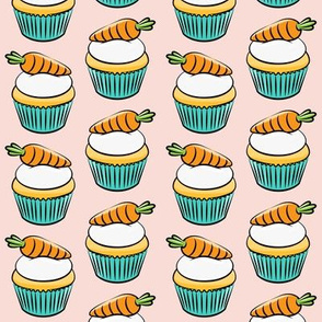 carrot cupcakes - carrot cake - easter spring sweets - pink LAD19