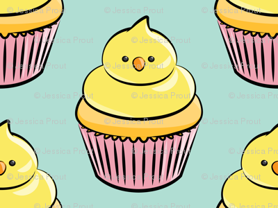 chick cupcakes - easter spring sweets - pink on aqua LAD19