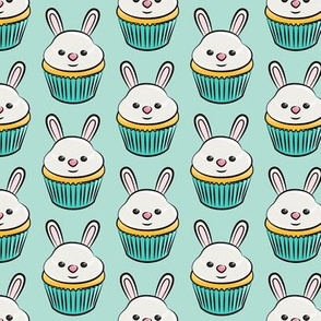 bunny cupcakes - easter spring sweets - aqua LAD19
