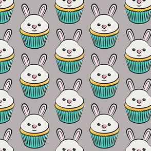 bunny cupcakes - easter spring sweets - grey LAD19